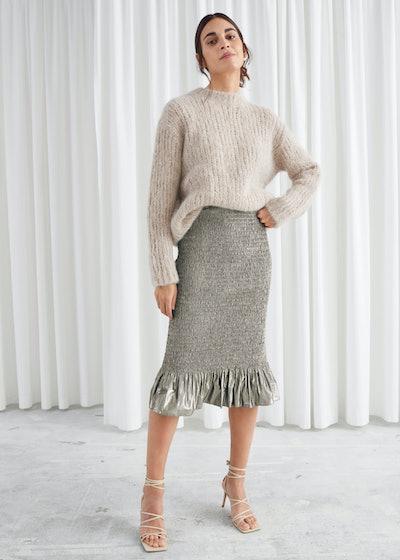 Smocked Metallic Midi Ruffle Skirt