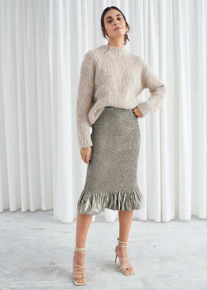 Smocked Metallic Midi Ruffle Skirt