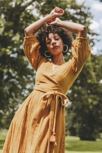 Louisa Gauze Wrap Dress - Saffron