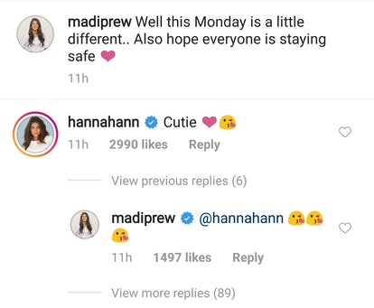 Hannah Ann and Madison's comments to Madison's post