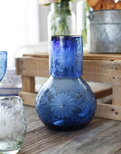 FRENCH BLUE BUREAU PITCHER WITH GLASS Made in Mexico  by artisans using recycled glass