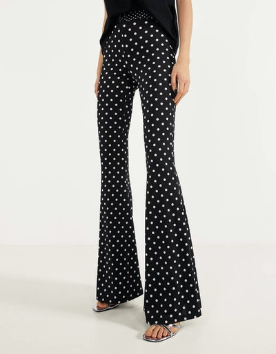 Polka-dot flare fit pants