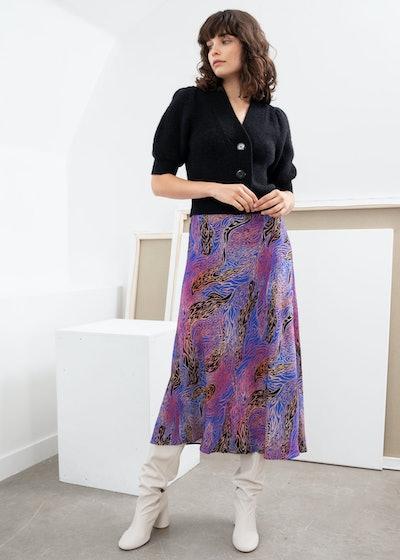Graphic Print Midi A-Line Skirt