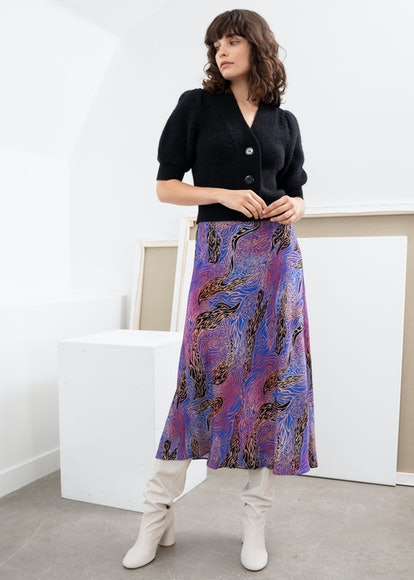 Graphic Print Midi A-Line Skirt