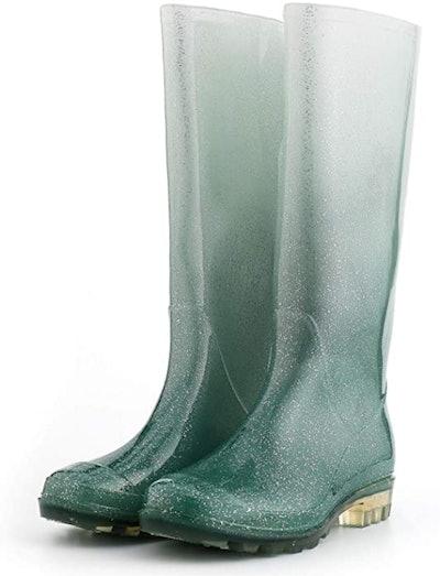 KomForme Knee High Glitter Rain Boots