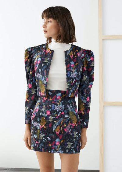 Graphic Sequin Print Cropped Jacket