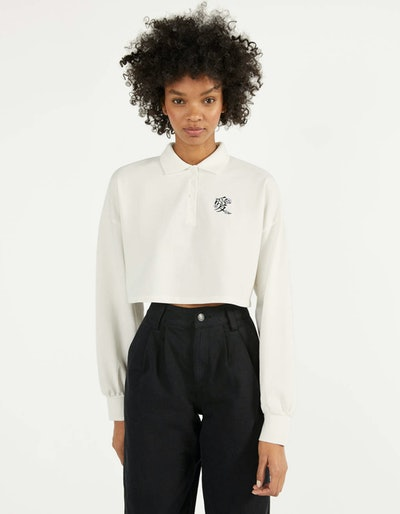 Polo-style sweatshirt with print