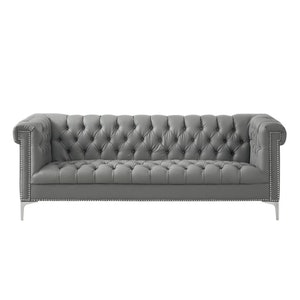Ramona Grey/Silver Faux Leather Sofa