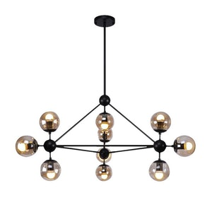 Almiana 10-Light Antique Black Metal Glass Pendant