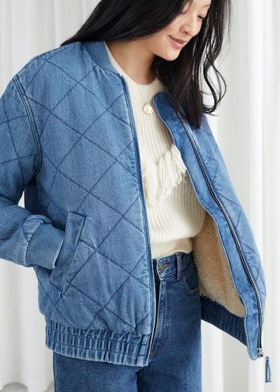 Padded Organic Cotton Denim Jacket