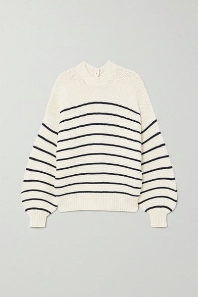 Button-Embellished Striped Cotton Sweater