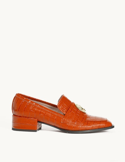 Nono Loafer in arancio croc effect calfskin