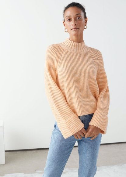 Folded Cuff Mock Neck Knit Sweater
