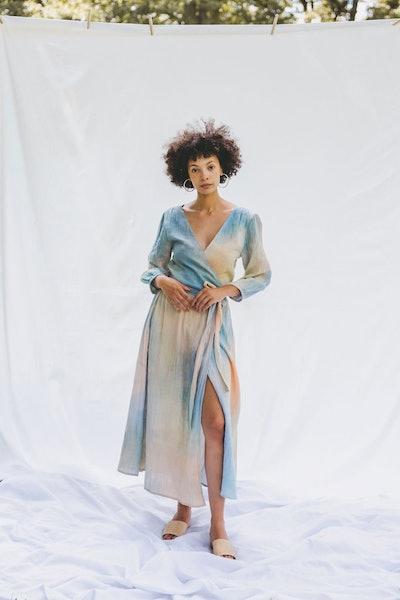 Thea Wrap Dress - Rainbow Tie Dye
