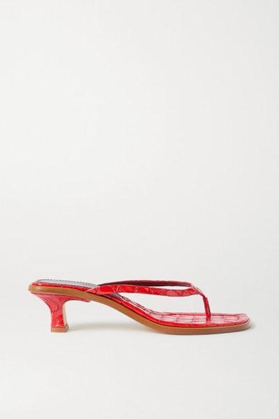 Alix Croc-Effect Patent-Leather Sandals