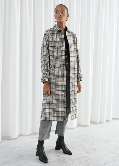 Plaid Check Long Tailored Coat