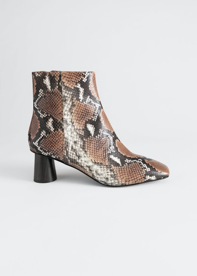 Wooden Heel Snake Ankle Boots