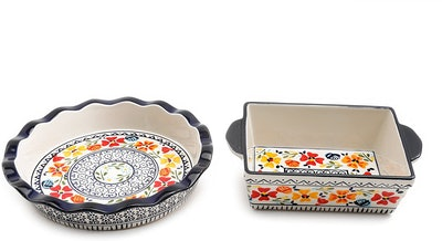 Gibson Luxembourg Handpainted Pie Dish & Square Bakeware (10.5 by 8 Inches)