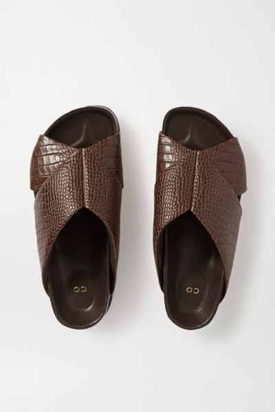 Croc-Effect Leather Slides