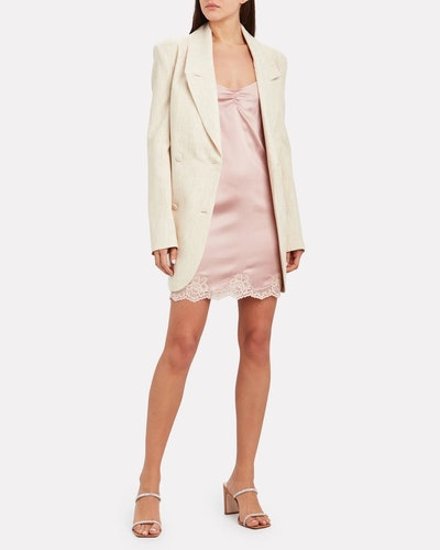 James Lace-Trimmed Silk Slip Dress