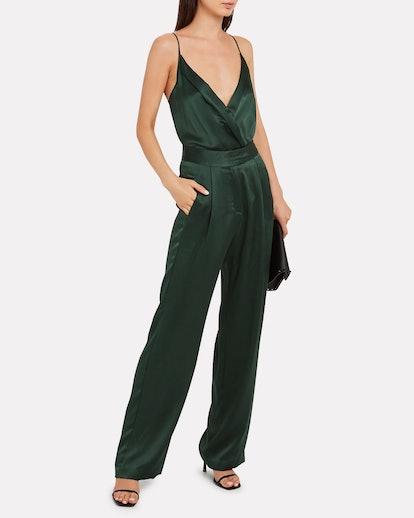 Silk Charmeuse Wrap Bodysuit