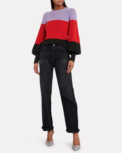 Sammy Colorblock Cashmere-Lambswool Sweater