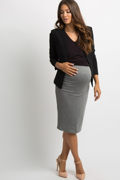 Charcoal Fitted Maternity Pencil Skirt