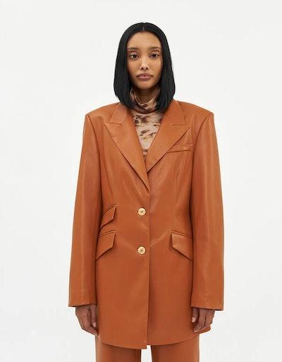 Cancun Vegan Leather Long Blazer