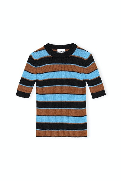 Lurex Striped Knit Striped T-Shirt