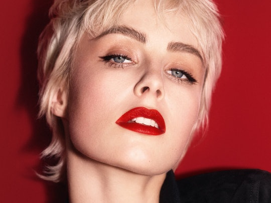 YSL Beauty's new Tatouage Couture Velvet Cream Liquid Lipstick on model.