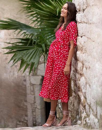 Red Midi Wrap Maternity Dress