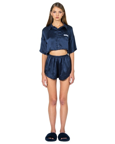Silk Cropped Blouse & Shorts Set