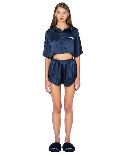 Silk Cropped Blouse & Shorts Set