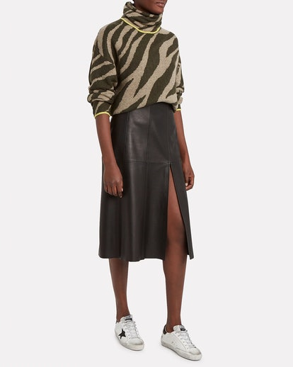 Kiki Zebra IntarsiaTurtleneck Sweater