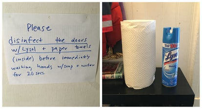Lysol and paper towel stand at the ready