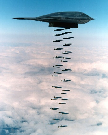 A B-2 Spirit dropping Mk 82 bombs
