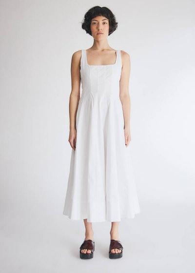 Wells Poplin Dress in White
