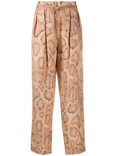 Snake-Skin Print Trousers