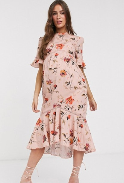 Maternity open back midiaxi dress with ruffle hem in poppy floral