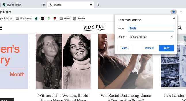 Screen sharing lets you see coworkers saved browser bookmarks.