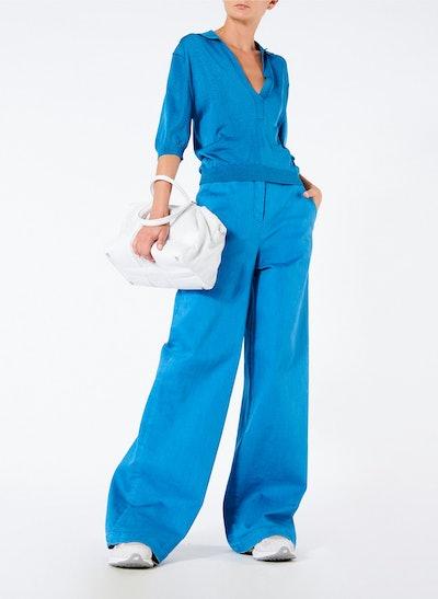 Garment Dyed Twill Wide Leg Jean