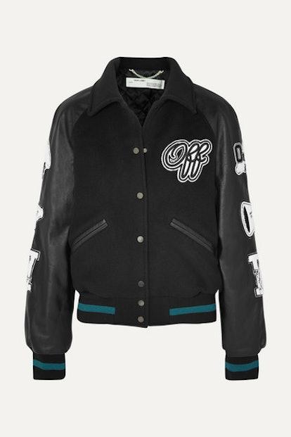 Appliquéd Wool-Blend and Leather Jacket