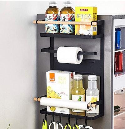 Ctystallove 3-Tier Metal Kitchen Rack Magnetic Fridge Organizer