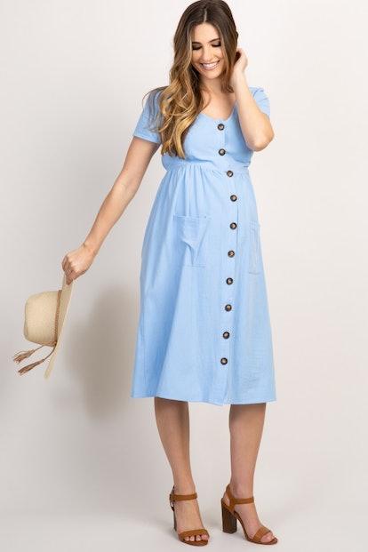 Blue Button Front Maternity Midi Dress