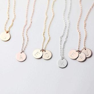 MignonandMignon Delicate Initial Disc Necklace