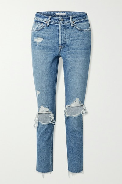 Karolina Cropped Distressed High-Rise Skinny Jeans