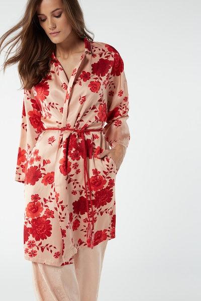 Flower Ballet Viscose Satin Dressing Gown