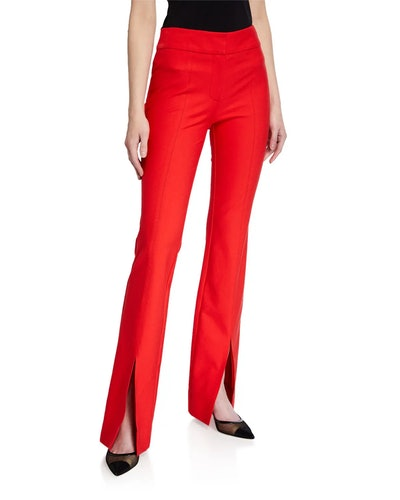 Maeve Slit-Hem Flare Trousers