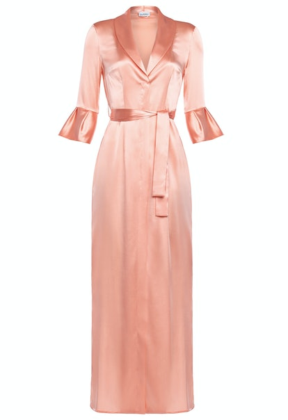 Pink Long Silk Belted Robe