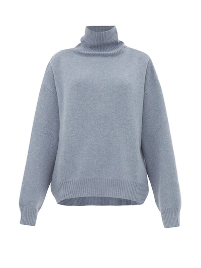 Cropped Displaced-Sleeve Roll-Neck Wool Sweater